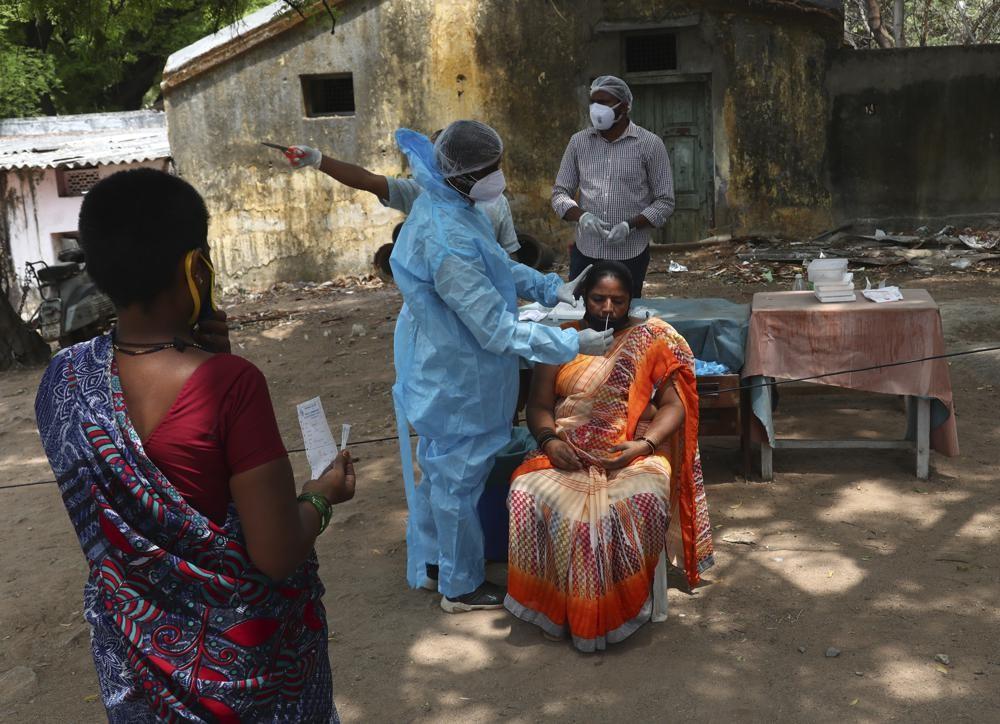 Taking a nasal swab for a coronavirus test in Hyderabad