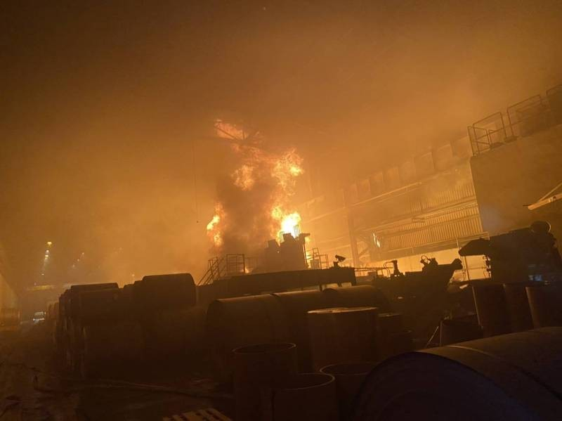 Fire breaks out in Kaohsiung steel mill. (Kaohsiung City Fire Department photo)