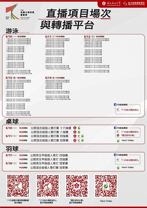 NCKU now broadcasting Taiwan intercollegiate matchups