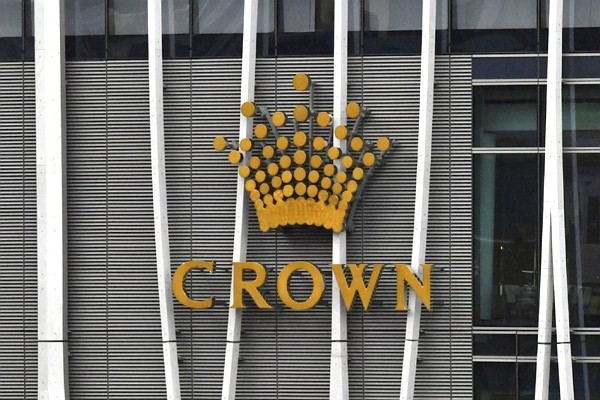 The Crown logo is seen on Crown Sydney Tower at Barangaroo in Sydney.