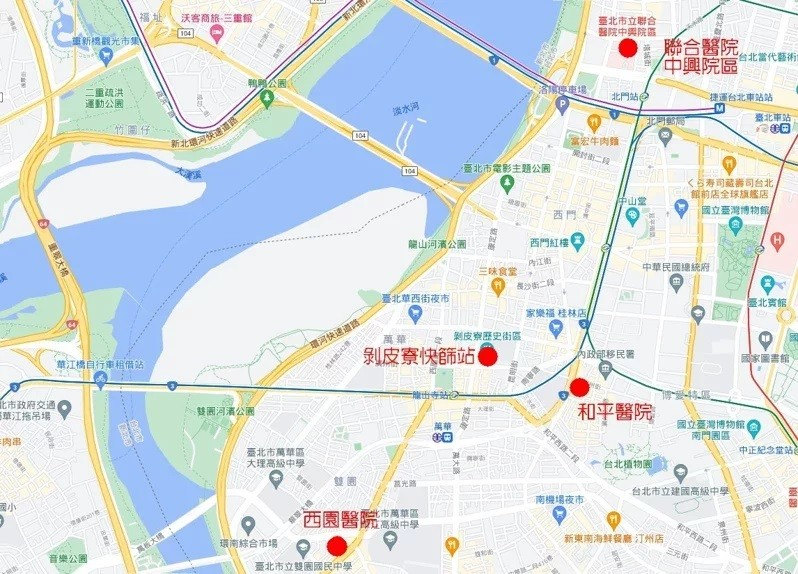 Map shows locations of 4 rapid testing stations in Taipei. (Google Maps image)