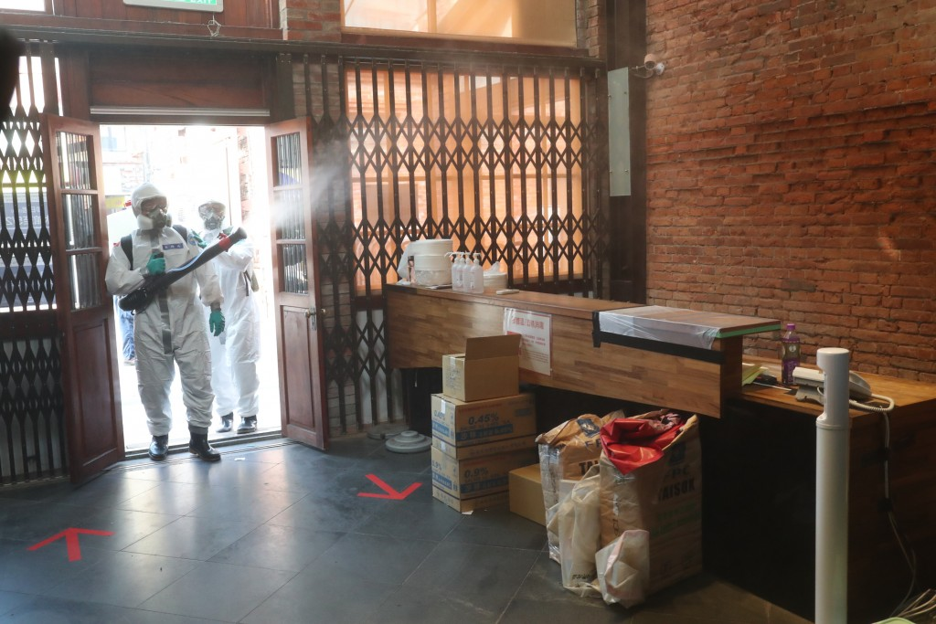 Disinfecting in the Taipei City district of Wanhua Saturday