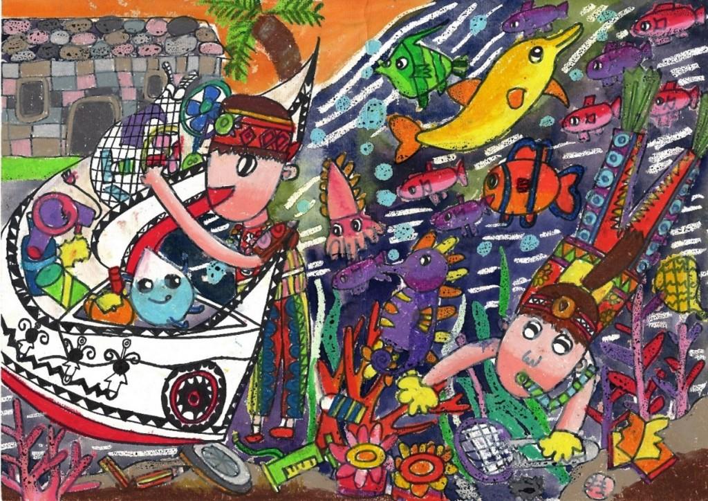 全國賽國小著色組第一名作品-劉品辰同學。(圖片由台灣永續能源研究基金會提供)