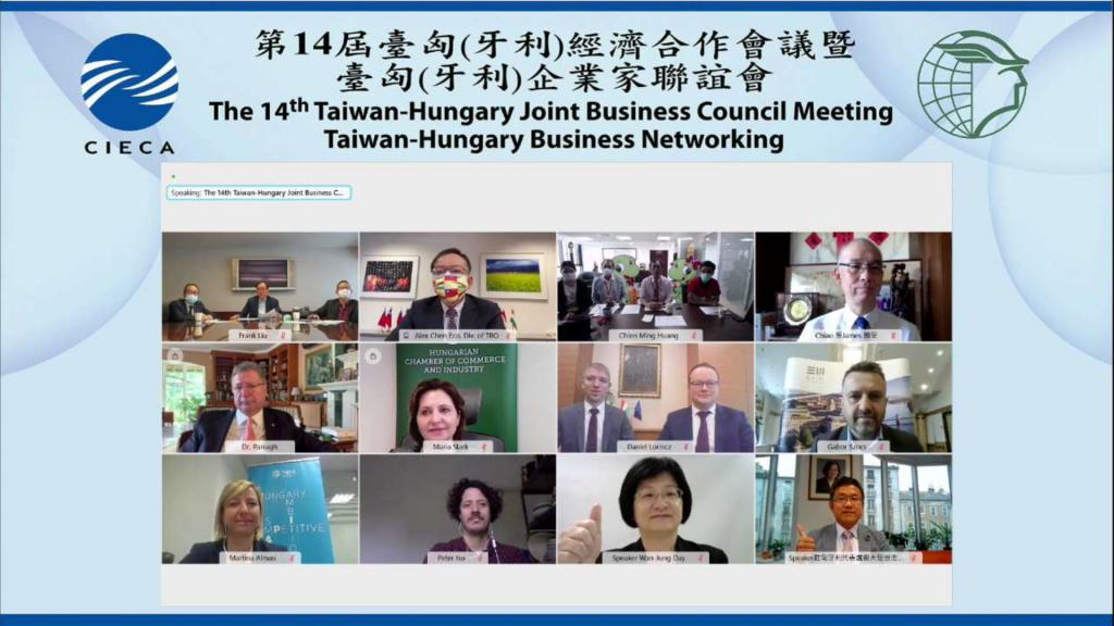 2021年5月13日第14屆臺匈(牙利)經濟合作會議雙方貴賓及講者合影。(來源:國經協會提供)