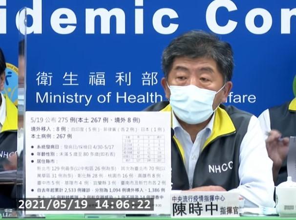 台灣5月19日增267例本土個案,連續5天破百例,陳時中宣布全國進入第3級警戒。(取自指揮中心直播記者會)