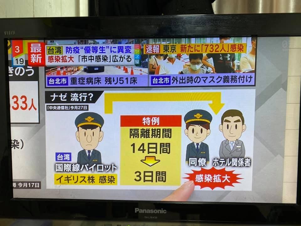 日本電視媒體報導分析台灣疫情狀況(日本旅日台人陳冠廷提供)