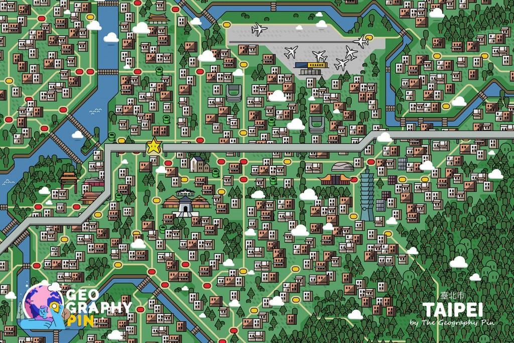 Overworld map of Taiwan inspired by Super Mario World. (Miguel Alfaro illustration)