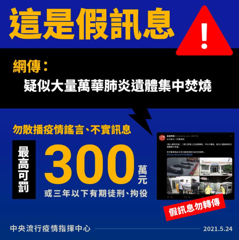 自由時報遭盜用指「台北萬華肺炎遺體集體焚燒」!警政署嚴辦假消息