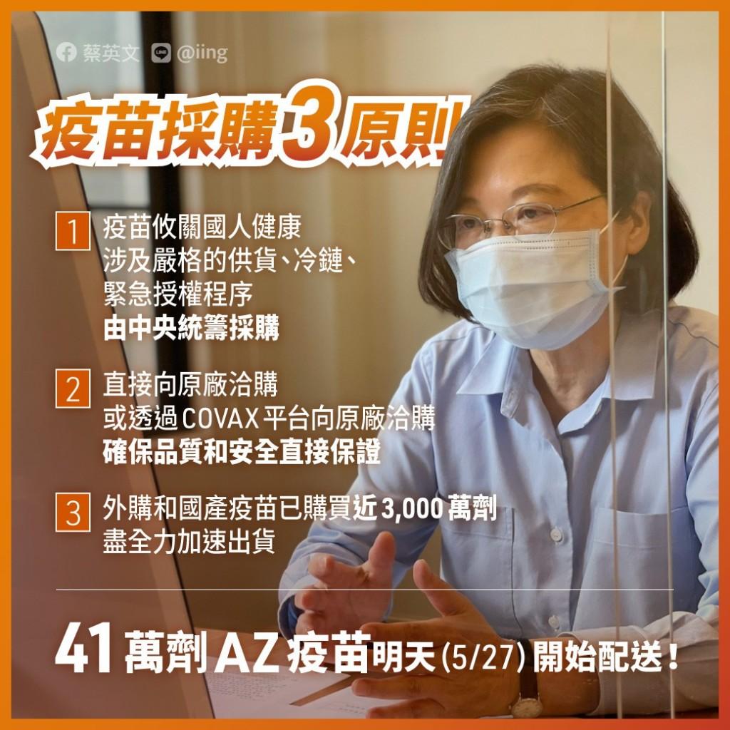 悠關台灣人健康!蔡英文:須由中央統籌購買疫苗 國內外採購已近3千萬劑