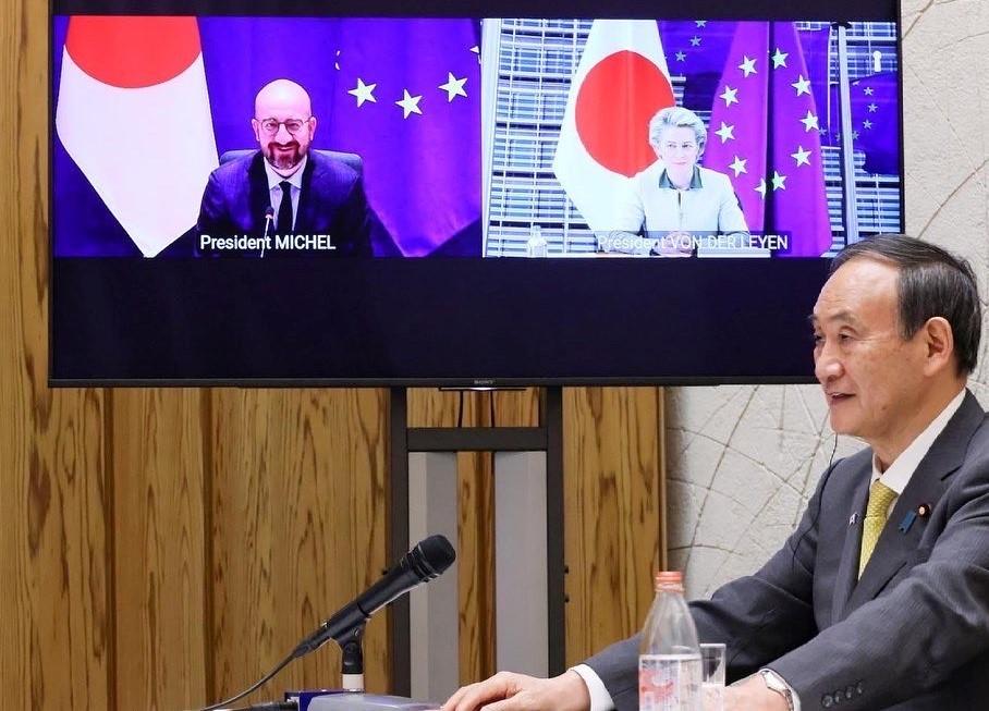 Japanese Prime Minister SugaYoshihide speaking at Japan-EU virtual summit. (Facebook, Prime Minister Office of Japan photo)