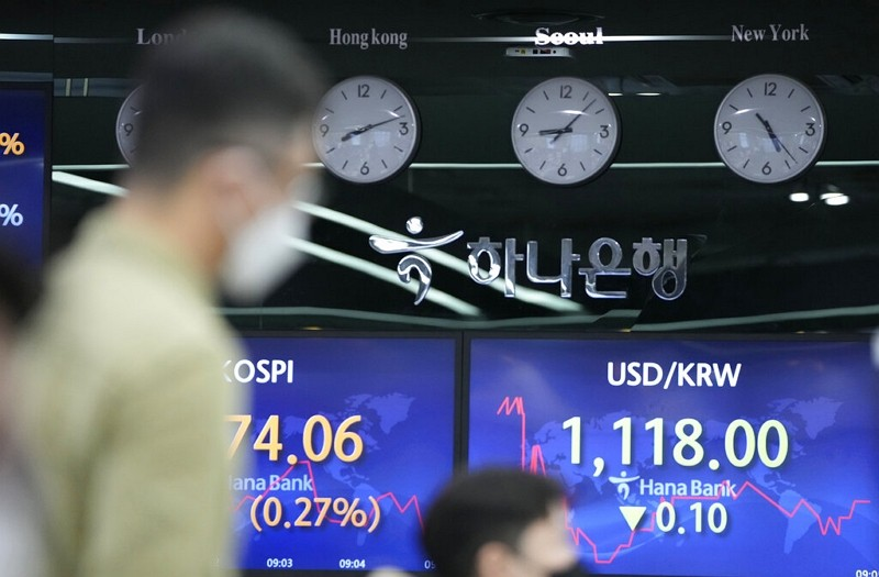 The foreign exchange dealing room in Seoul, South Korea, Friday, May 28, 2021.