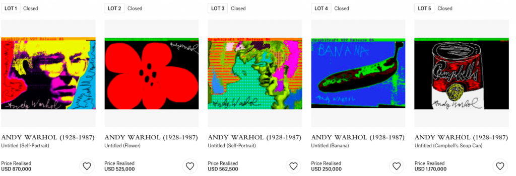NFT sale of Andy Warhol works fetch combined NT$93 million