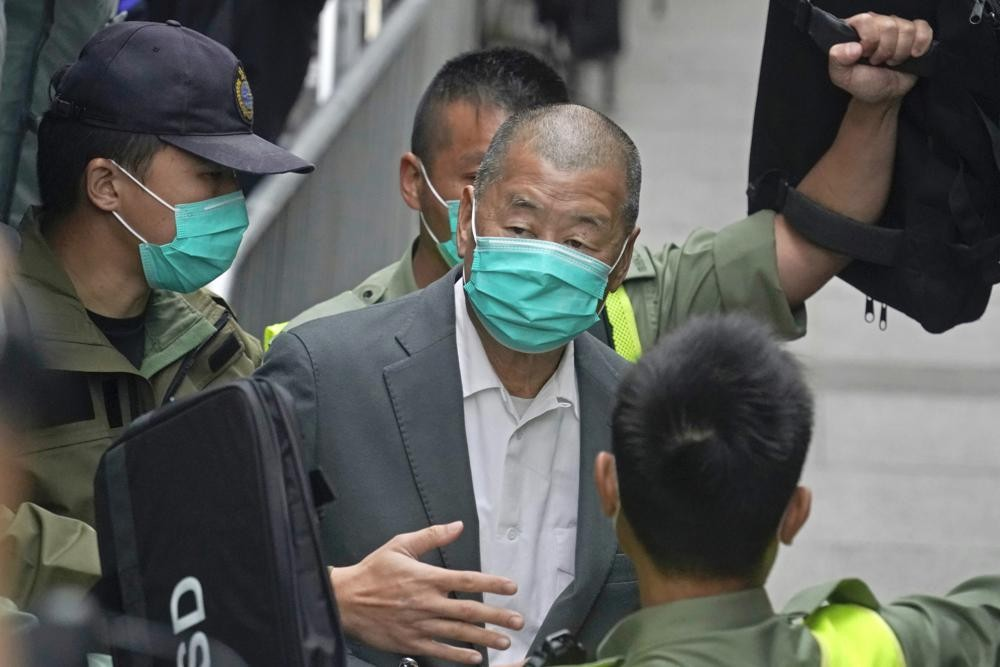 Jimmy Lai leaving a Hong Kong court in February
