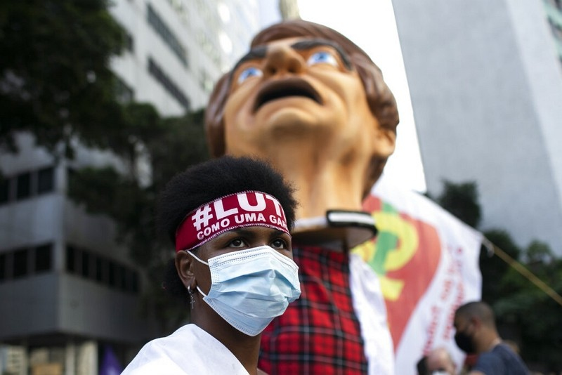 巴西反總統示威(圖/美聯社)