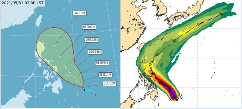 CWB map ofChoi-wan's predicted path, and ECMWF prediction.