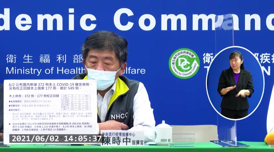 台灣2日新增372例本土確診總計549例(圖擷取自指揮中心直播記者會)