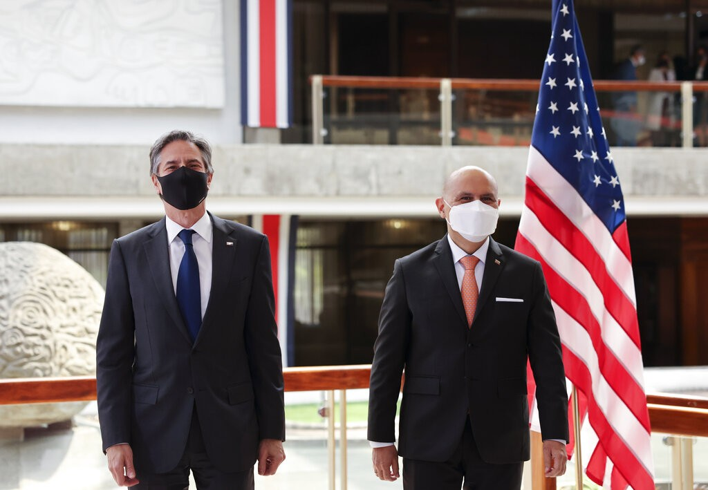 U.S. Secretary of State Antony Blinken meets with Costa Rica's Foreign Minister Rodolfo Solano Tuesday, June 1, 2021, in San Jose, Costa Rica.&nbs...