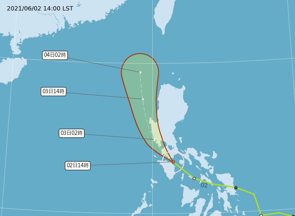 Map showing Tropical StormChoi-wan's predicted path. (CWB image)