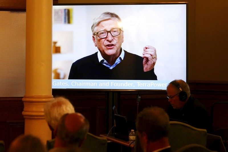 TerraPower Founder and Chairman Bill Gates speaks to the crowd in a recorded video message during a press conference,June 2, 2021, in Cheyenne, ...