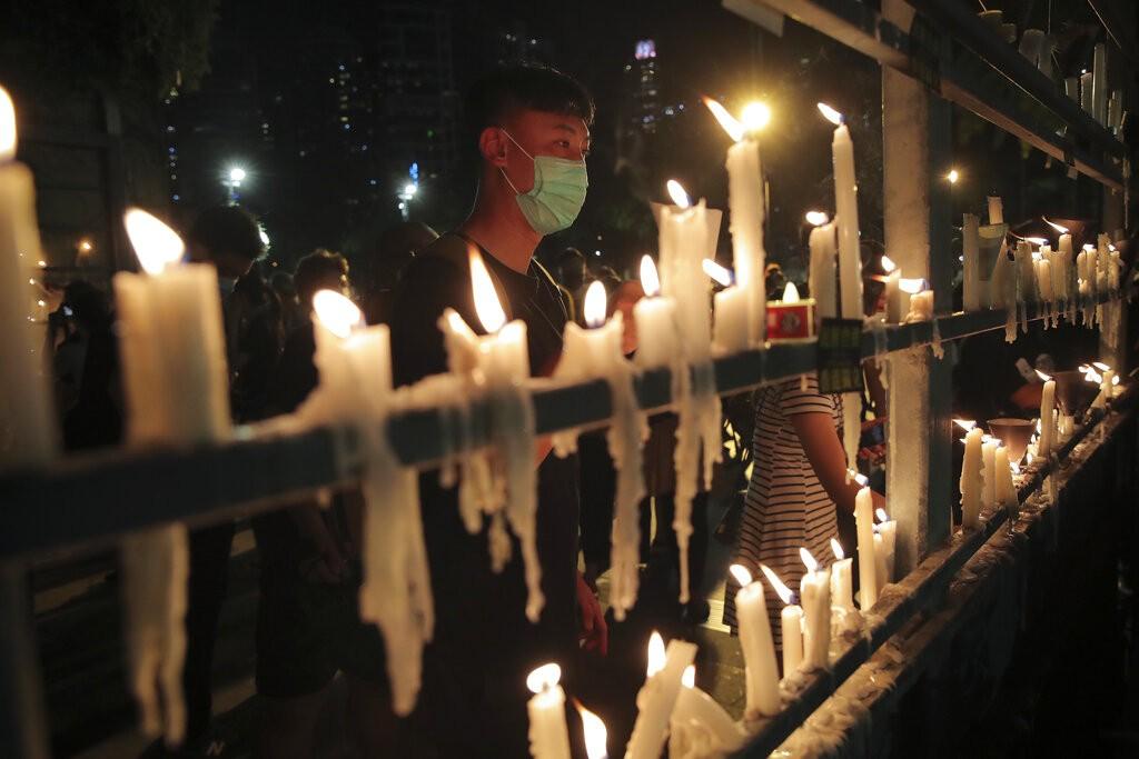 2020年6月4日,香港六四事件活動照。(照片由美聯社提供)