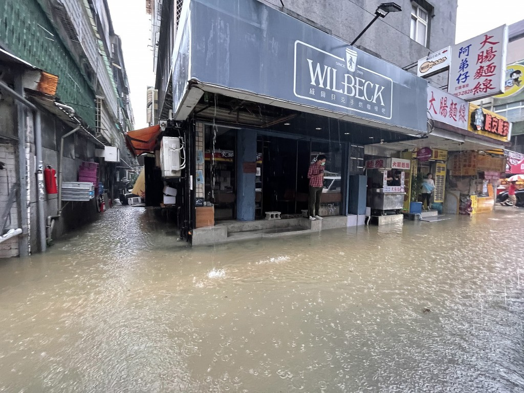 Flooding in Taipei City's Xinyi District Friday afternoon