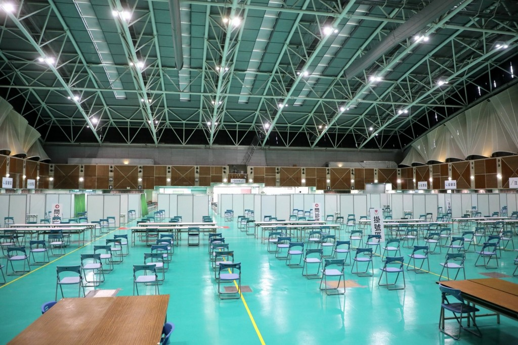A vaccination center being readied in Wugu, New Taipei City (CNA, New Taipei City Government photo)