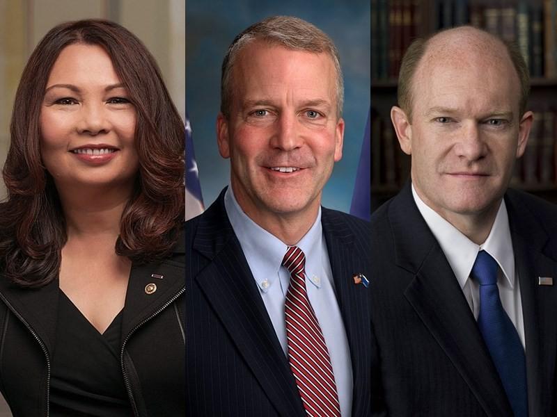 U.S. Senators Tammy Duckworth, Dan Sullivan and Chris Coons (CNA, Wikimedia photos)