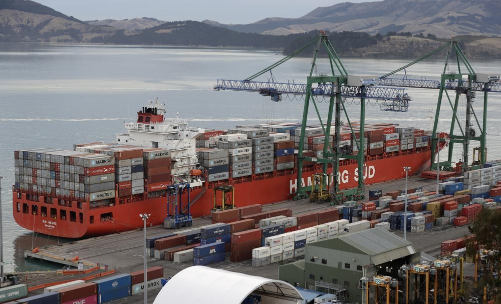 Containers for export at a harbor near Christchurch, New Zealand