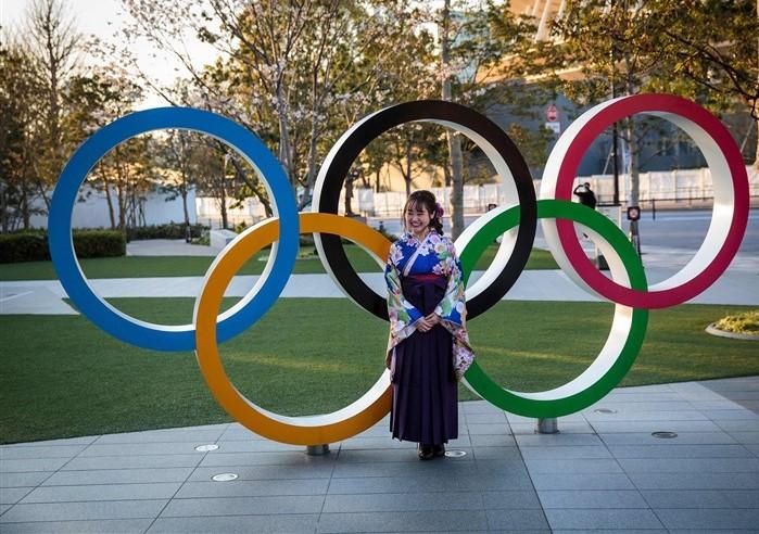 Olympic rings in Japan.