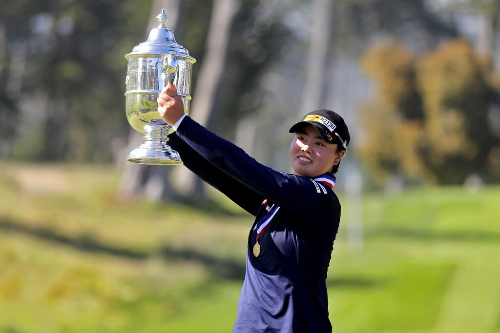Yuka Saso, of the Philippines, celebrates her victory during the final round of the U.S. Women's Open golf tournament at The Olympic Club, Sunday,...