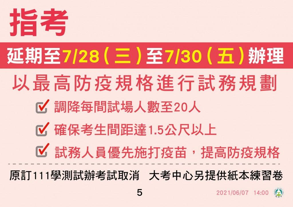 潘文忠:停止到校延長至 7/02 指考延期至 7/28