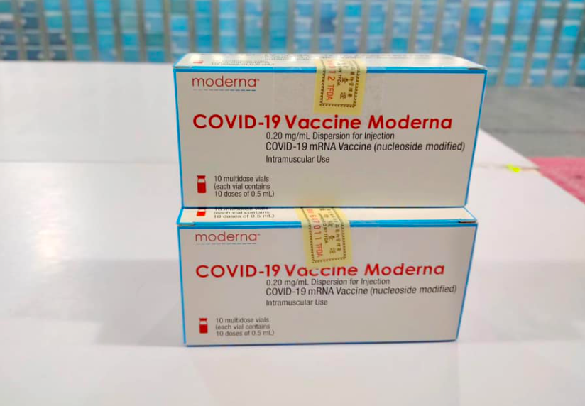 Packages of Moderna COVID-19 vaccine doses. (Facebook,Su Tseng-chang photo)