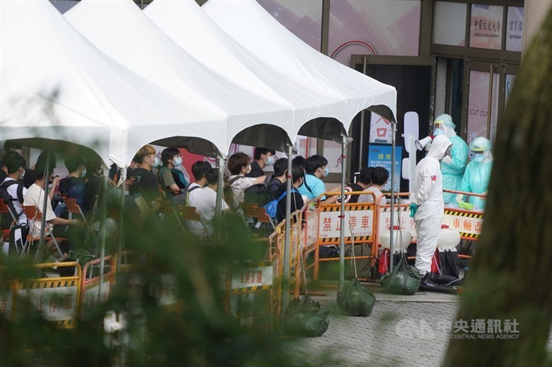 Chinese Culture University students lining up for COVID tests on June 2