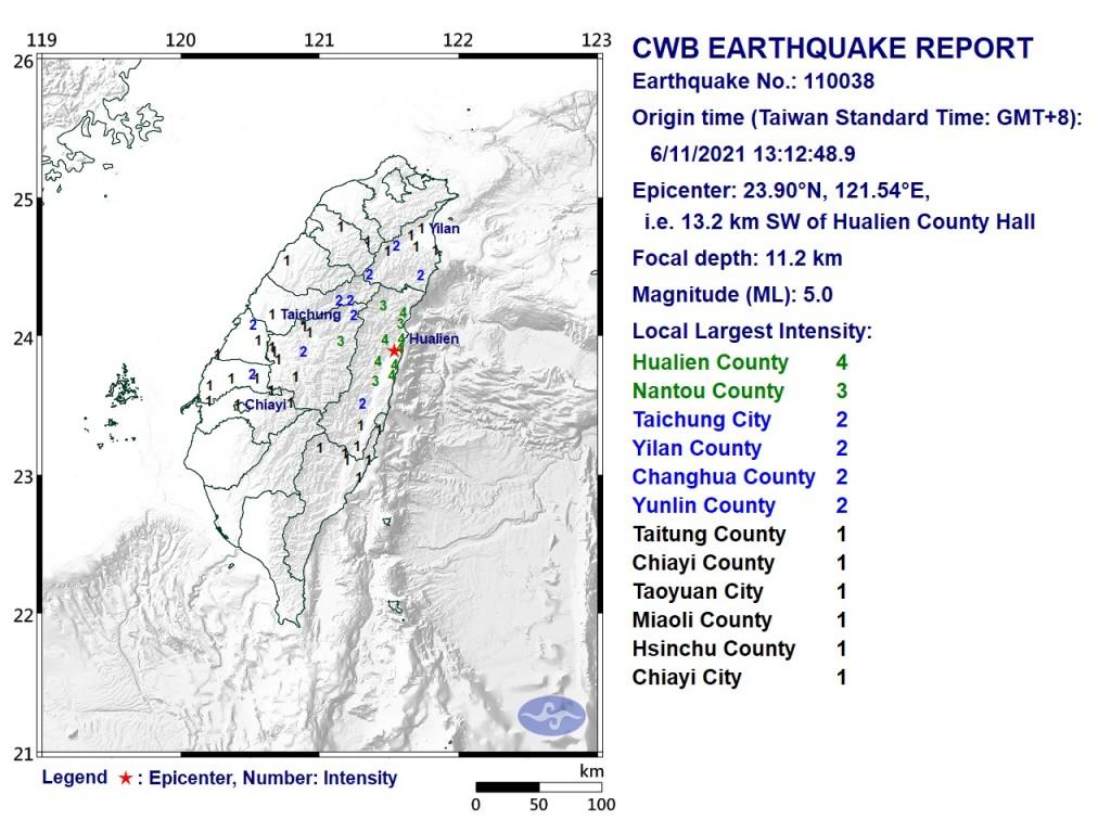 Map of magnitude 5.0 earthquake. (CWB image)
