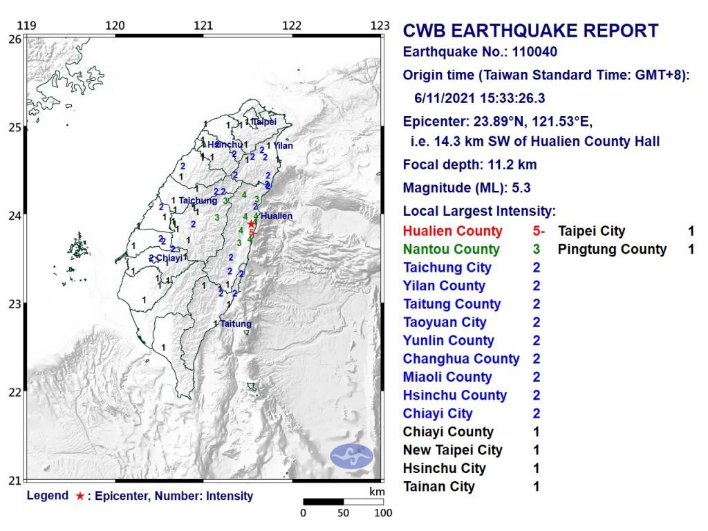Map of magnitude 5.3 earthquake. (CWB image)