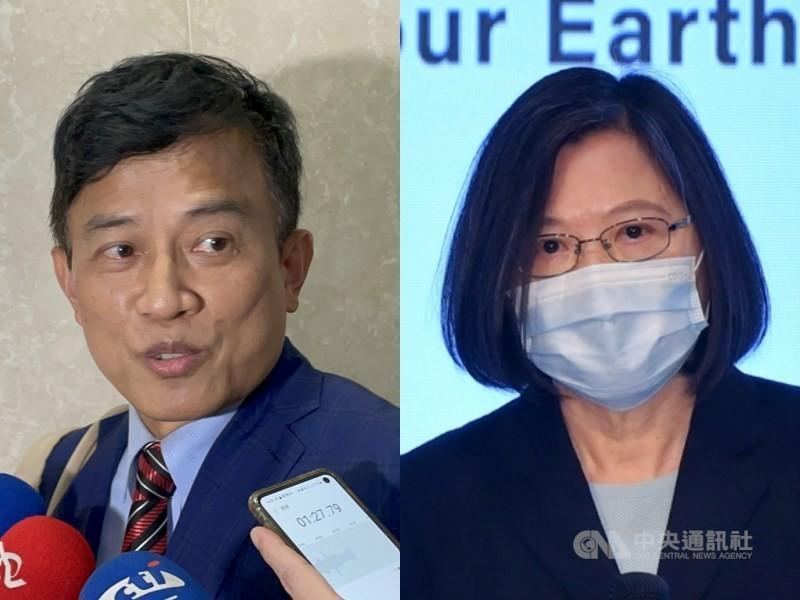 Former political talk show host Dennis Peng(left), TaiwanPresident Tsai Ing-wen