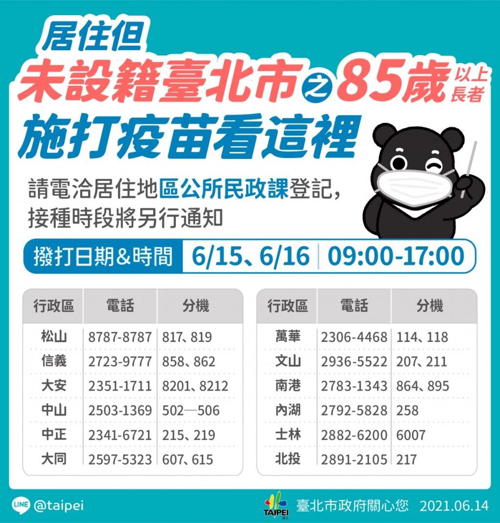 6/15開打!台北3萬長者疫苗接種 傍晚6點前簡訊通知時間地點