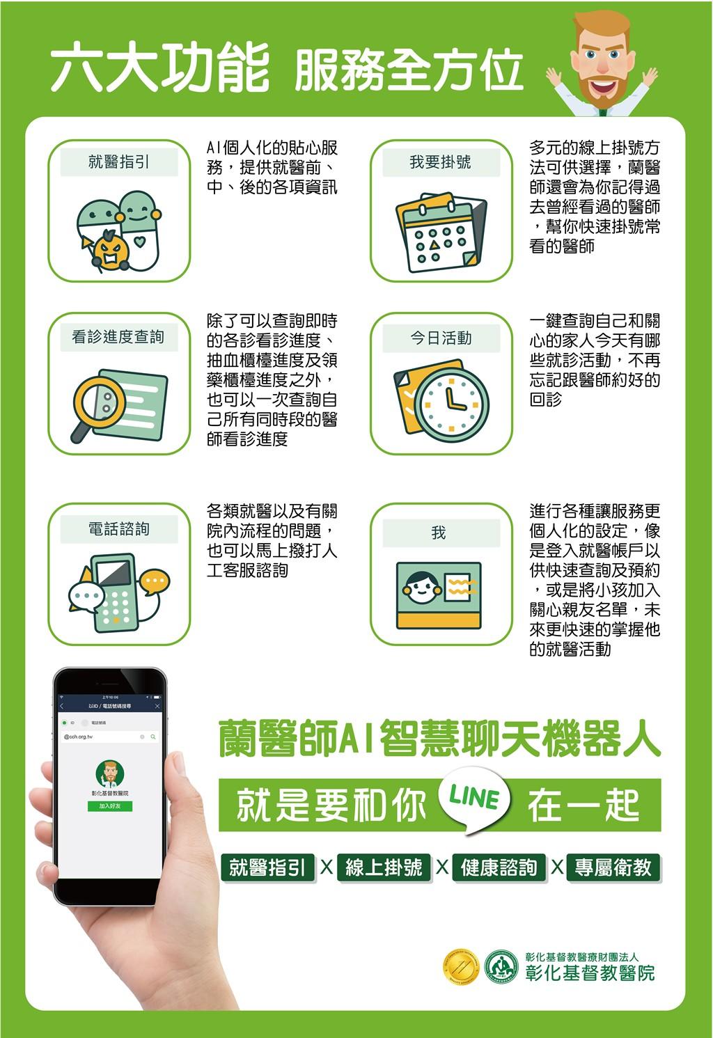 台灣宏達電攜手彰基醫院 透過LINE聊天機器人「蘭醫師」升級視訊診療