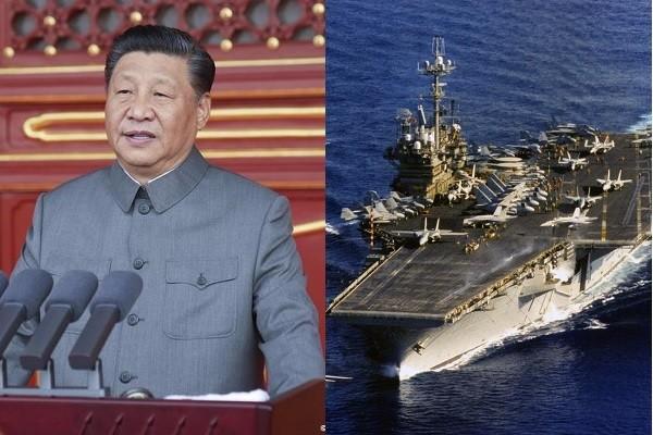 Xi Jinping (left), USS Independence (right). (CNA, U.S. Pacific Fleet photos)
