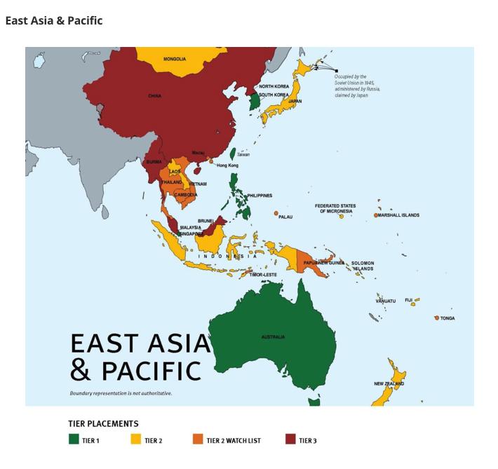 台灣打擊人口販運之努力連續12年獲國際認可(圖/翻攝自美國國務院人口販運報告書)