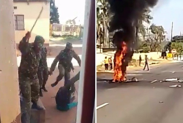 Police beating locals intown of Matsapha June 30 (left), blaze set by protesters blocking road nearManzini on June 30.(Twitter photo...
