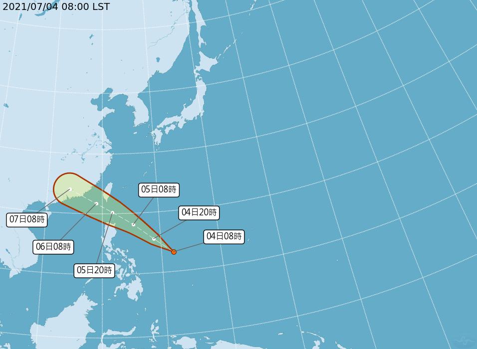 氣象局7/4表示,菲律賓東方海面有熱帶低壓形成,未來不排除有機會升格成今年第6號颱風「烟花」 。(圖/中央氣象局提供)