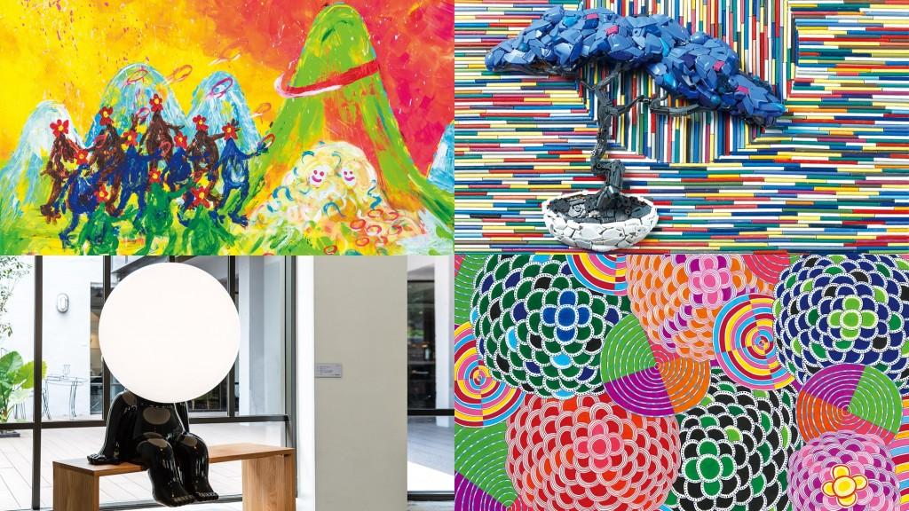 《富邦ART APP》集結孟耿如(左上)、林俊彬(右上)、林建榮(左下)、曾雍甯(右下)等12位國內外藝術家作品,推出藝文行事曆。(照片由...