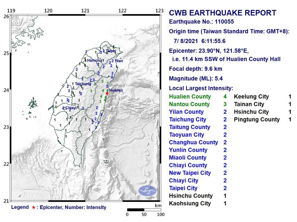 Map of magnitude 5.4 quake. (CWB image)