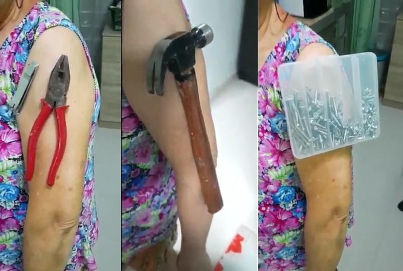 疫苗接種者宣稱手臂能吸鐵(圖/中國人北馬報影片截圖)