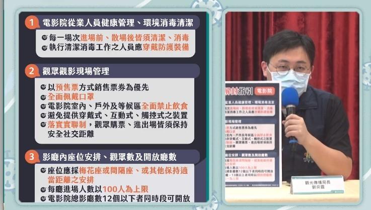 台北市政府今天下午舉行新冠肺炎(COVID-19)疫情記者會,觀光傳播局長劉奕霆說明電影院微解封政策。 (截圖自記者會直播畫面)