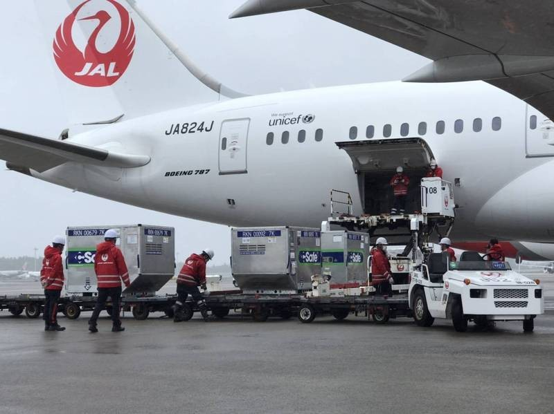 JAL aircraft delivering vaccines. (Taiwan Economic and Cultural Representative Office in Japan photo)
