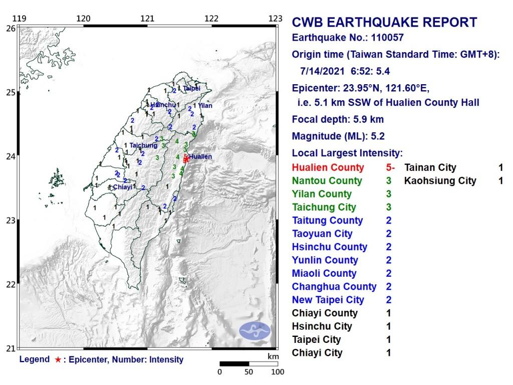 Map of magnitude 5.2 earthquake. (CWB image)