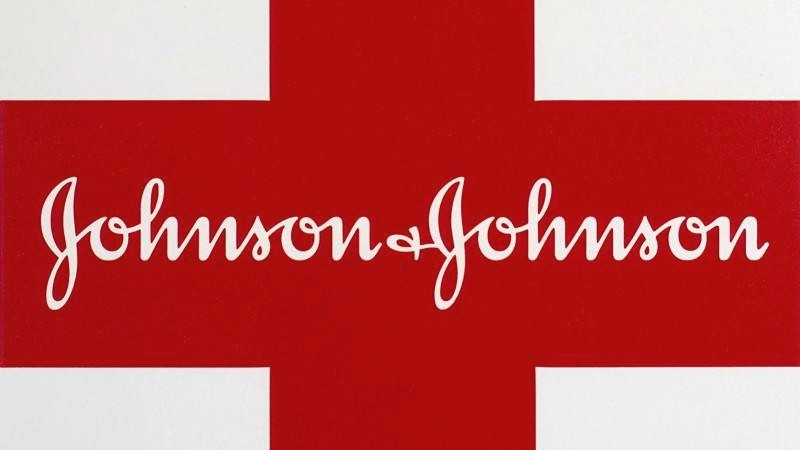 This Feb. 24, 2021 photo shows a Johnson & Johnson logo on the exterior of a first aid kit in Walpole, Mass.
