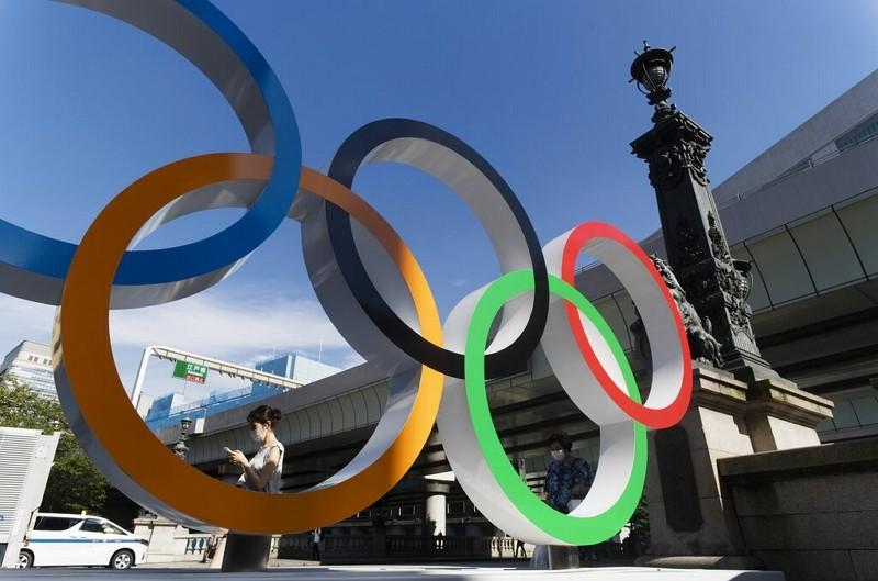 東京日本橋旁奧運標誌(圖/AP)